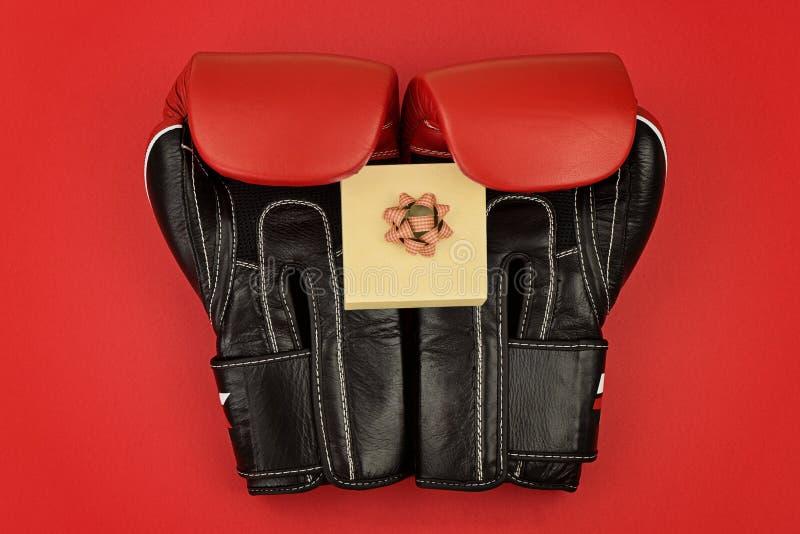 Boxninghandskar med den lilla gåvaasken till den boxas dagen royaltyfri fotografi