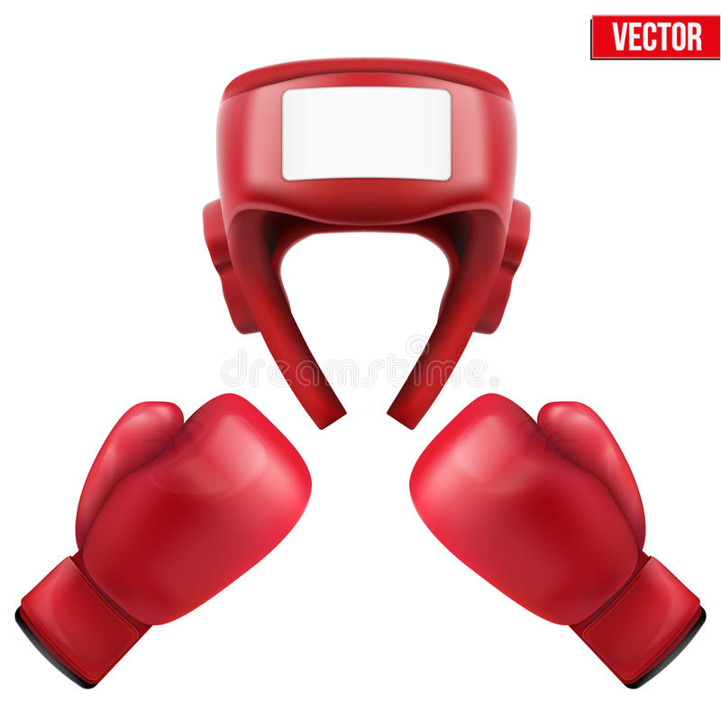 Boxninghjälm och handskar också vektor för coreldrawillustration stock illustrationer