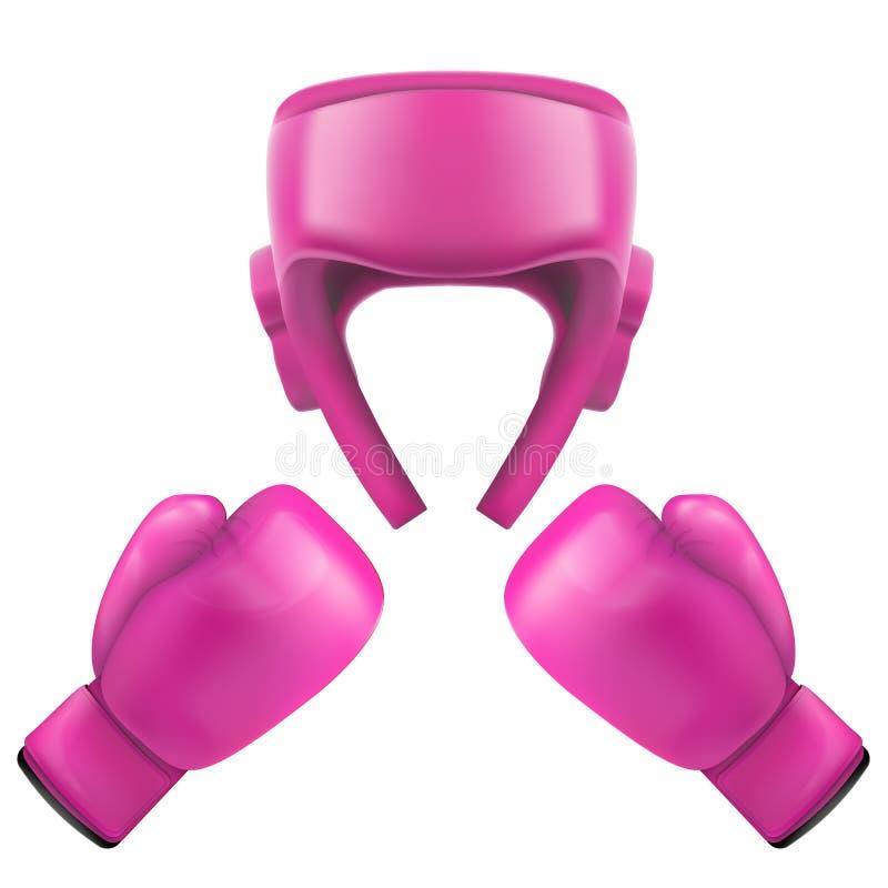 Boxninghjälm och handskar Självförsvar royaltyfri illustrationer