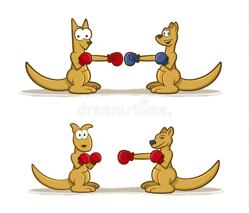Boxningkänguruuppsättning vektor illustrationer