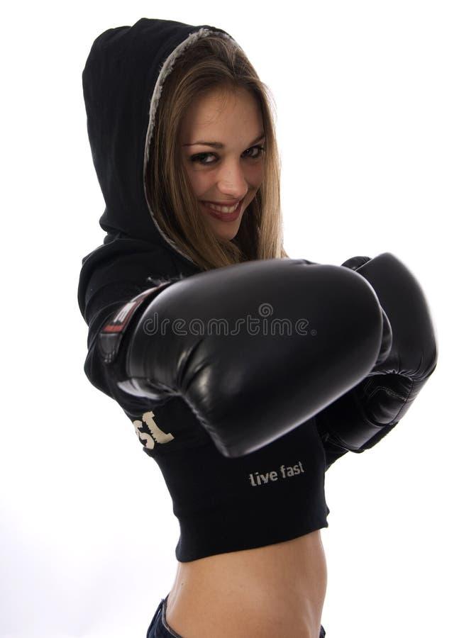 boxningkvinna royaltyfri foto