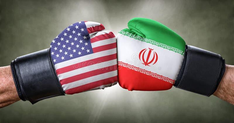 Boxningmatch mellan USA och Iran arkivfoton