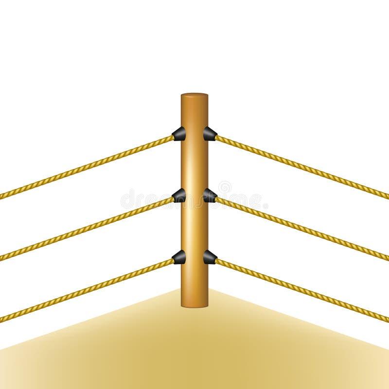 Boxningsring med bruna rep vektor illustrationer