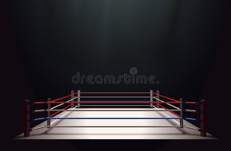Boxningsringen som isolerades på svartabstrakt begreppbakgrund, tände vid en spotl royaltyfri illustrationer
