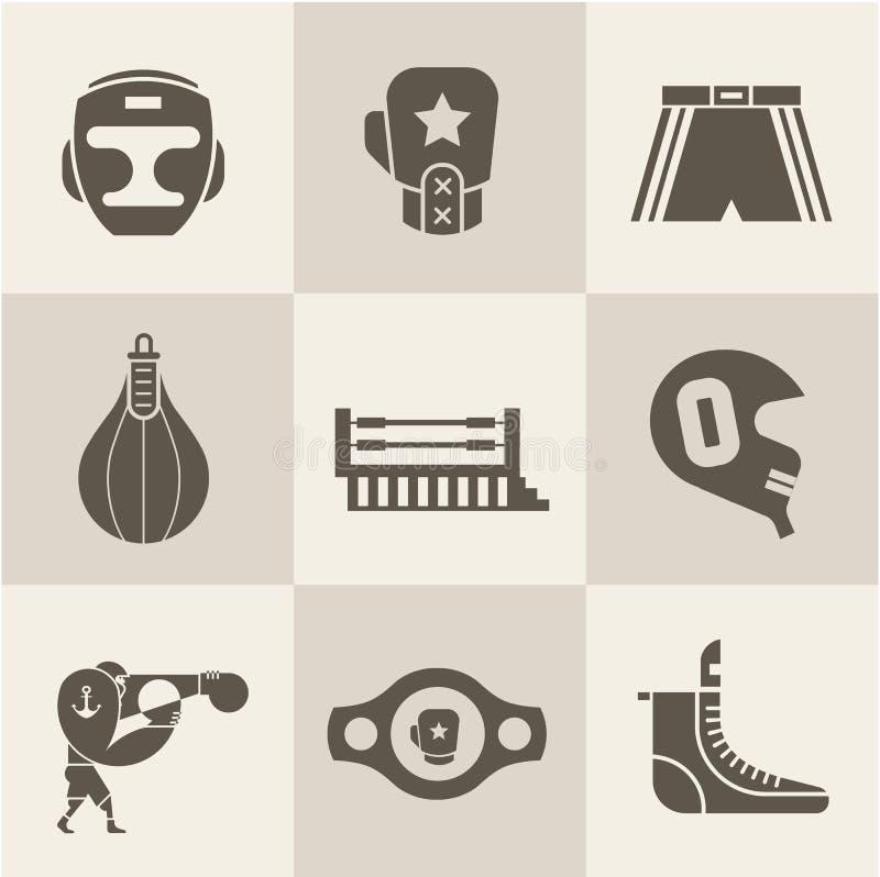 Boxningsymboler royaltyfri illustrationer