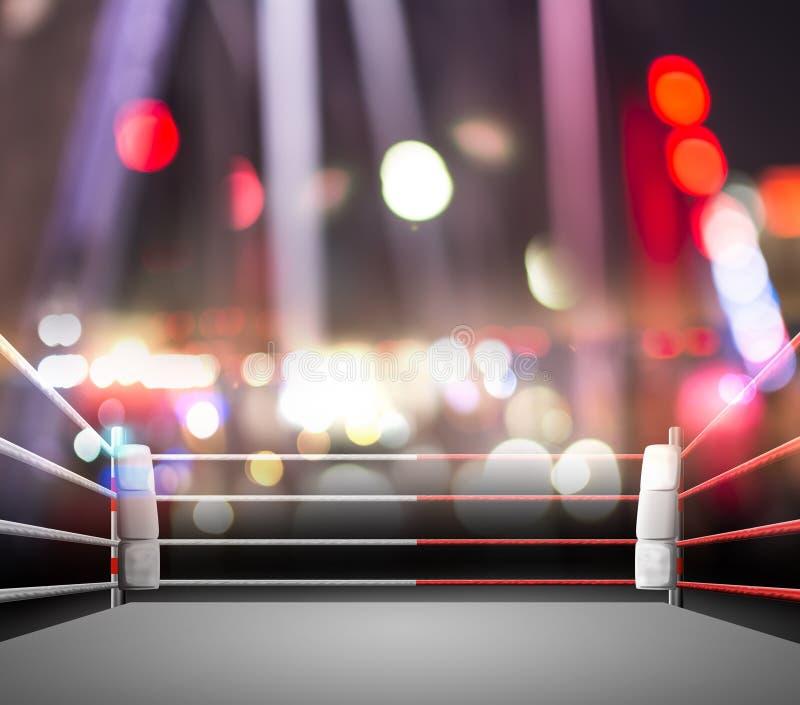 Boxring mit Beleuchtung durch Scheinwerfer digitaler Effekt 3d r lizenzfreies stockfoto