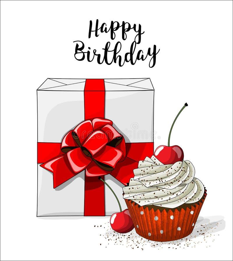 Boxt blanco del regalo con la cinta roja y magdalena con la crema y la cereza blancas en el fondo blanco, ejemplo stock de ilustración
