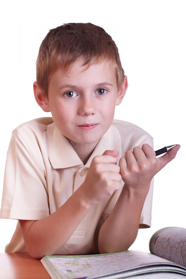 Download The boy stock image. Image of homework, lesson, smile - 11992187