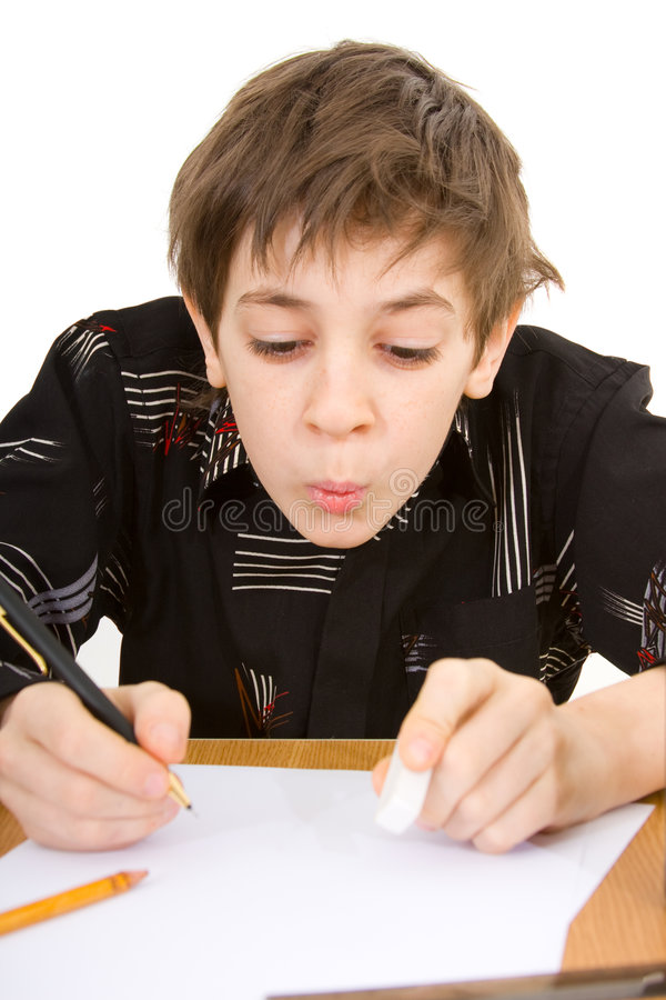 Boy. Child with study of the difficulties on white background royalty free stock images