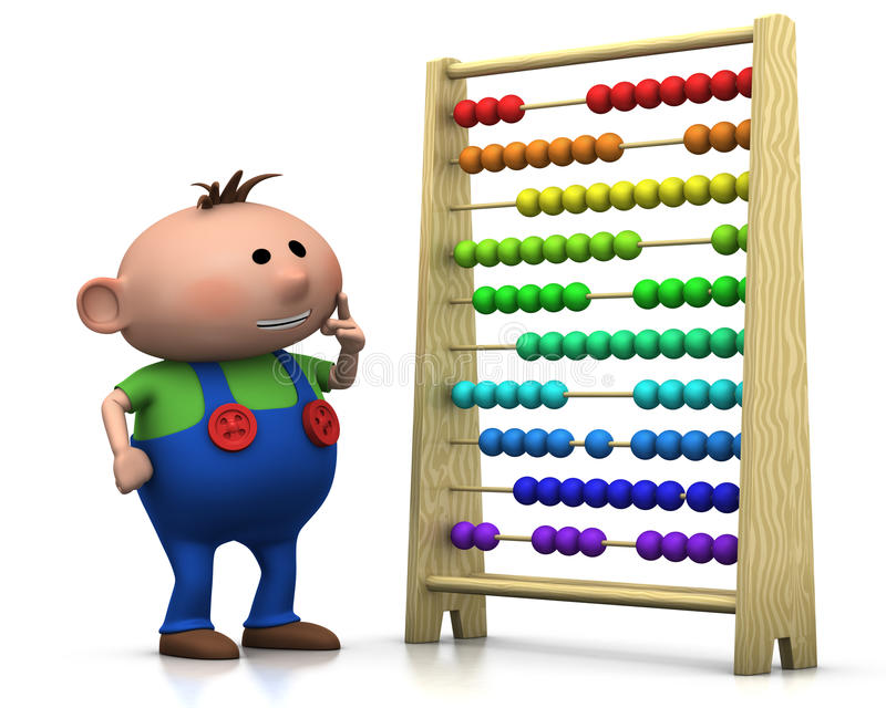 Boy with abacus. 3d rendering/illustration of a cute cartoon boy standing in front of an abacus royalty free illustration