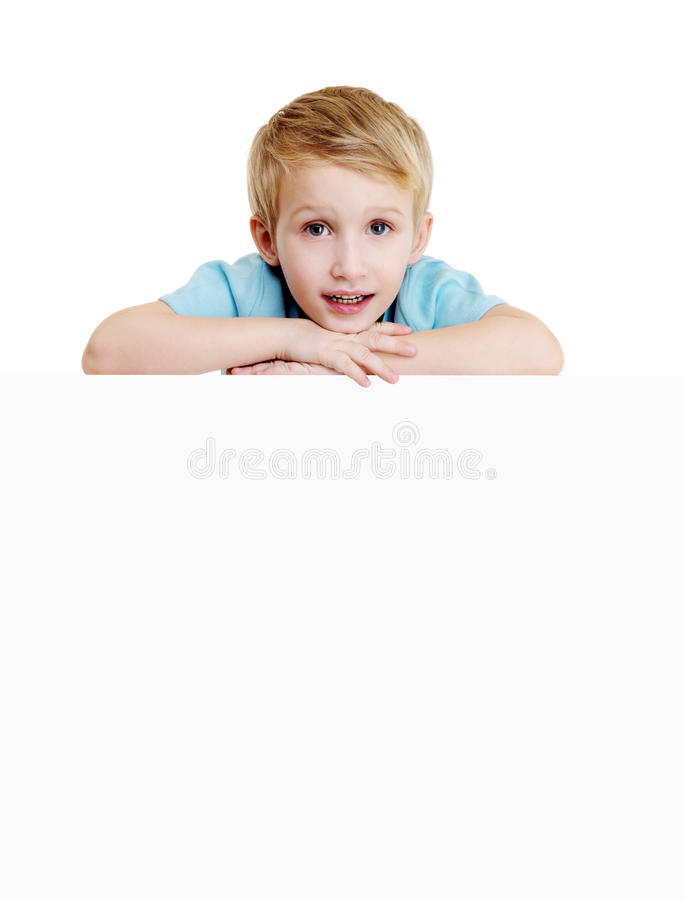 Download Boy Is Above On The Empty White Placard Stock Photo - Image: 12029308