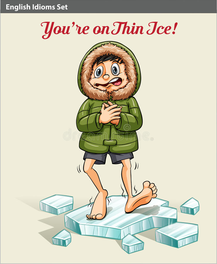 A boy above the ice block royalty free illustration