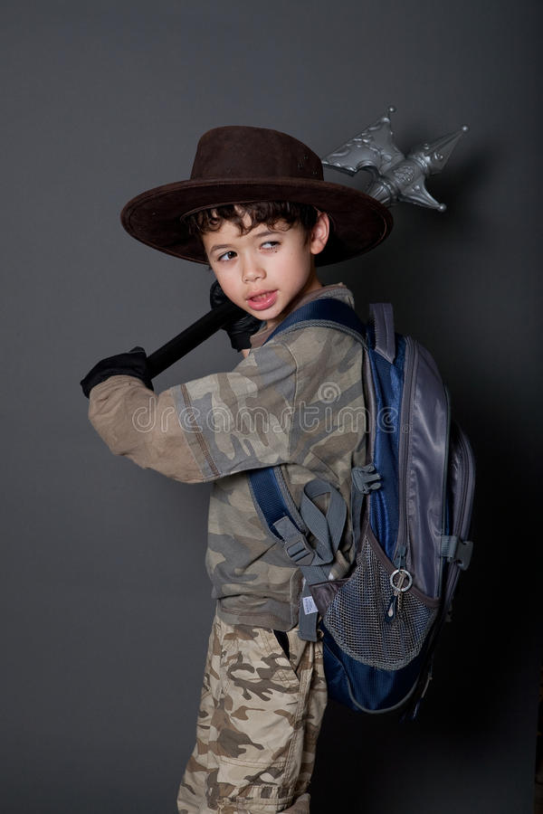 Download Boy Acting Out His Favorite Movie Character Stock Photo - Image: 14526910