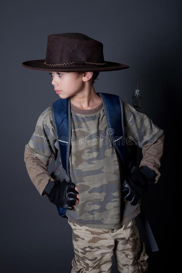 Boy Acting Out His Favorite Movie Character Stock Images