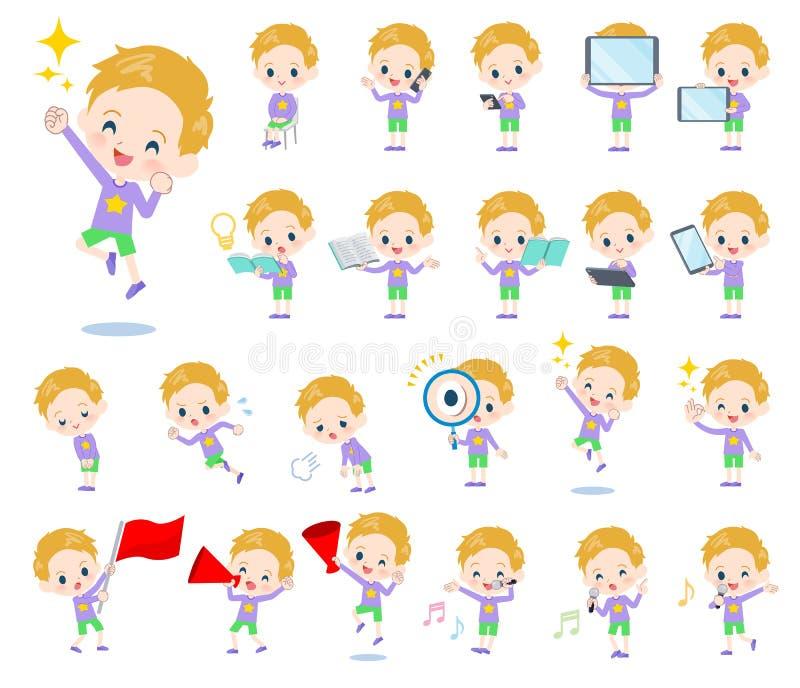 Boy_Action del pelo rubio stock de ilustración