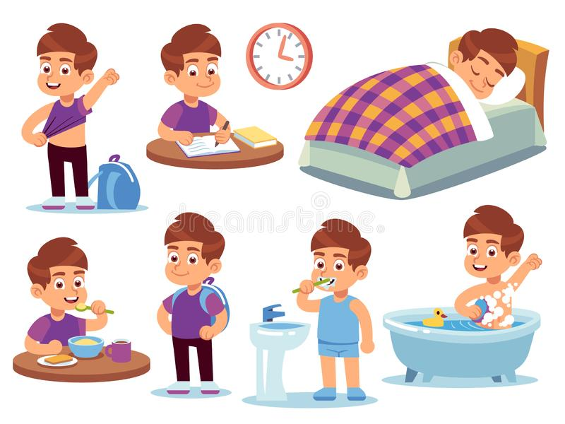 Boy daily activities. Little kid sleeps in a bed, wake up and takes bath, does homework and eats in school. Routine royalty free illustration