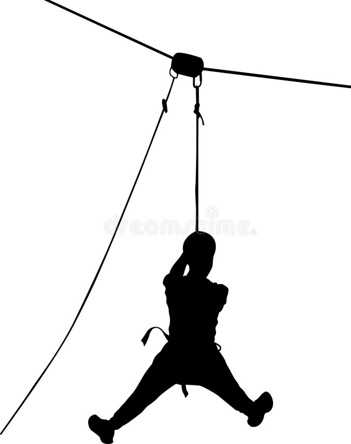 Boy in adventure park rope ladder. Strong young men in a rope park on the wood background. Silhouette Adventure. Rescue mountain u. Nit stock illustration