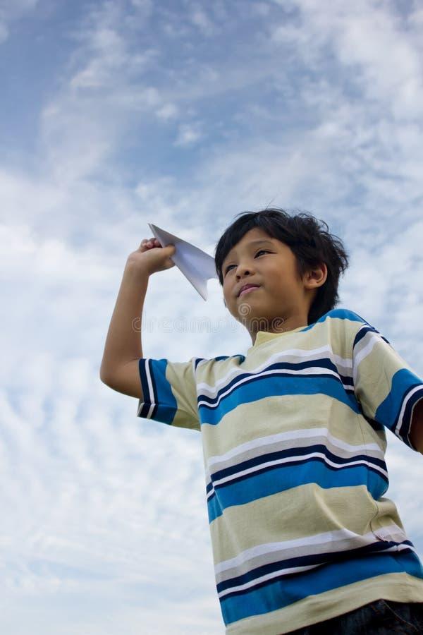 Boy And Aeroplane Stock Images