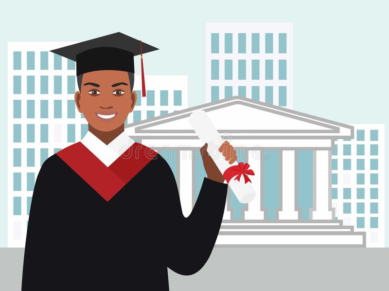 Boy afro-american graduates in the mantle against royalty free illustration