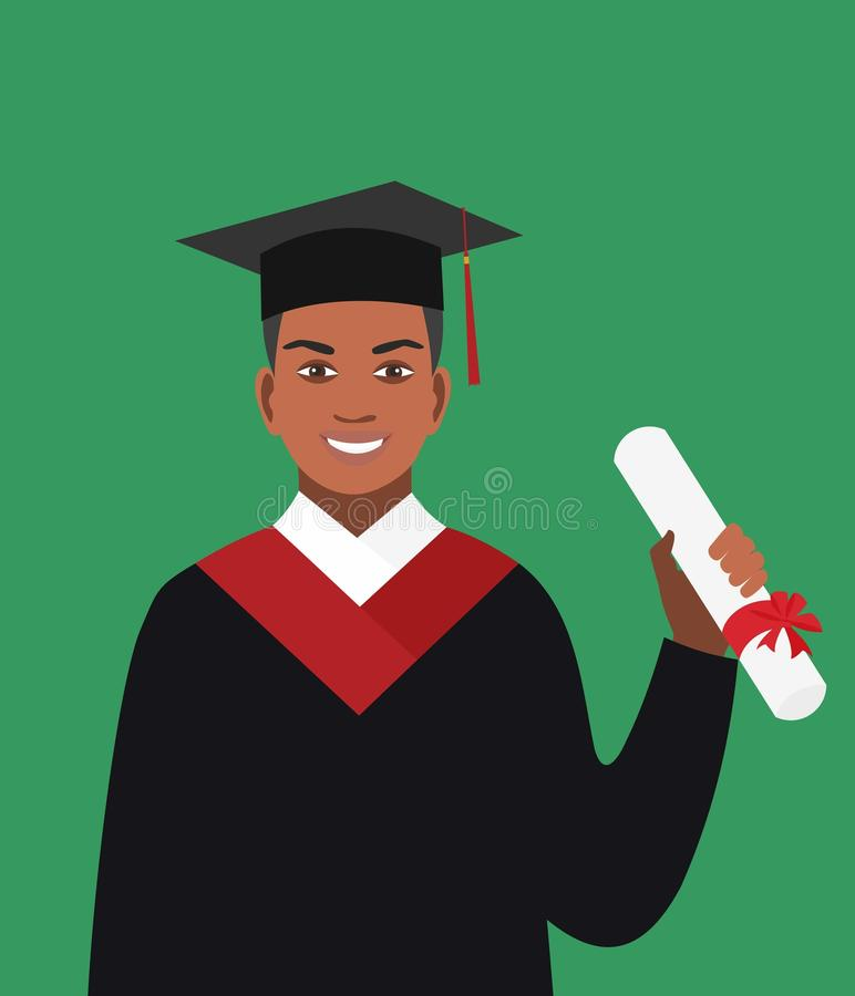 Boy afro-american graduates in the mantle. Vector illustration in flat design. vector illustration