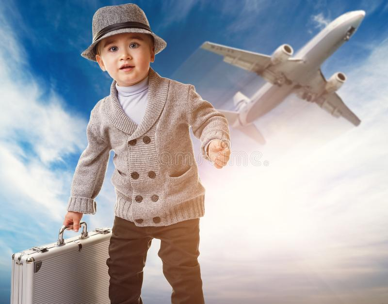 Download Boy Against Flying Plane Stock Images - Image: 26013094