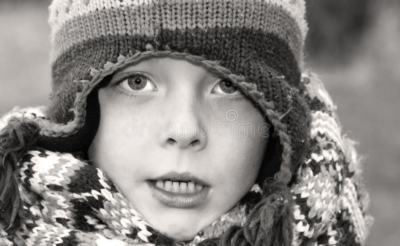 boy all wrapped up for winter royalty free stock image