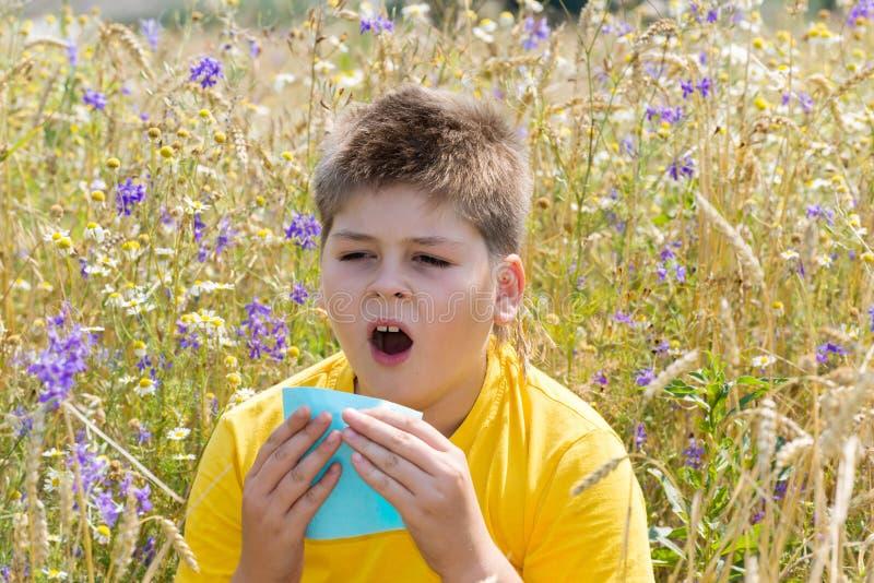 Boy with allergic rhinitis in meadow. Boy with allergic rhinitis in the meadow stock photos