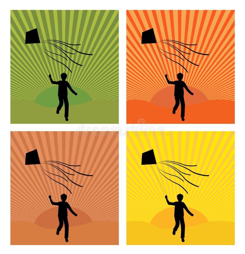 Boy&kite ilustração stock