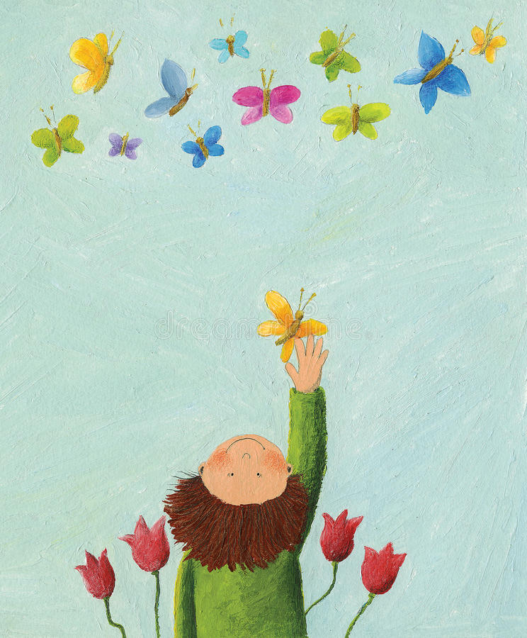Free Boy And Colorful Butterflies Stock Photo - 12624830