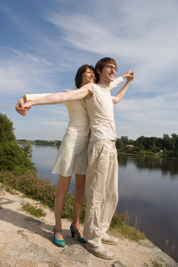Free Boy And Girl On The River`s Bank Stock Photo - 10217050
