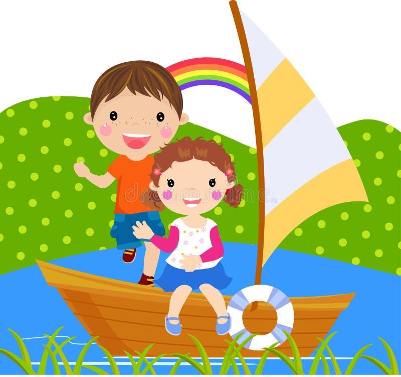 Free Boy And Girl Sailing On Lake Stock Photography - 18520982