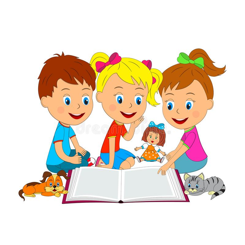 Free Boy And Girls Are Reading A Book Royalty Free Stock Photos - 100865628
