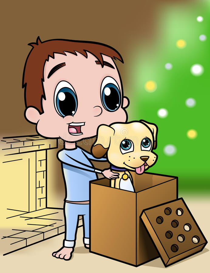 Free Boy And Puppy Christmas Present Royalty Free Stock Photos - 22191778