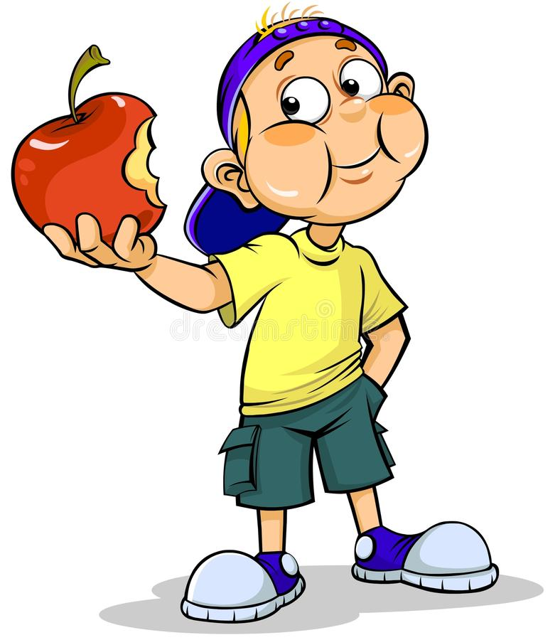 Boy and apple vector illustration