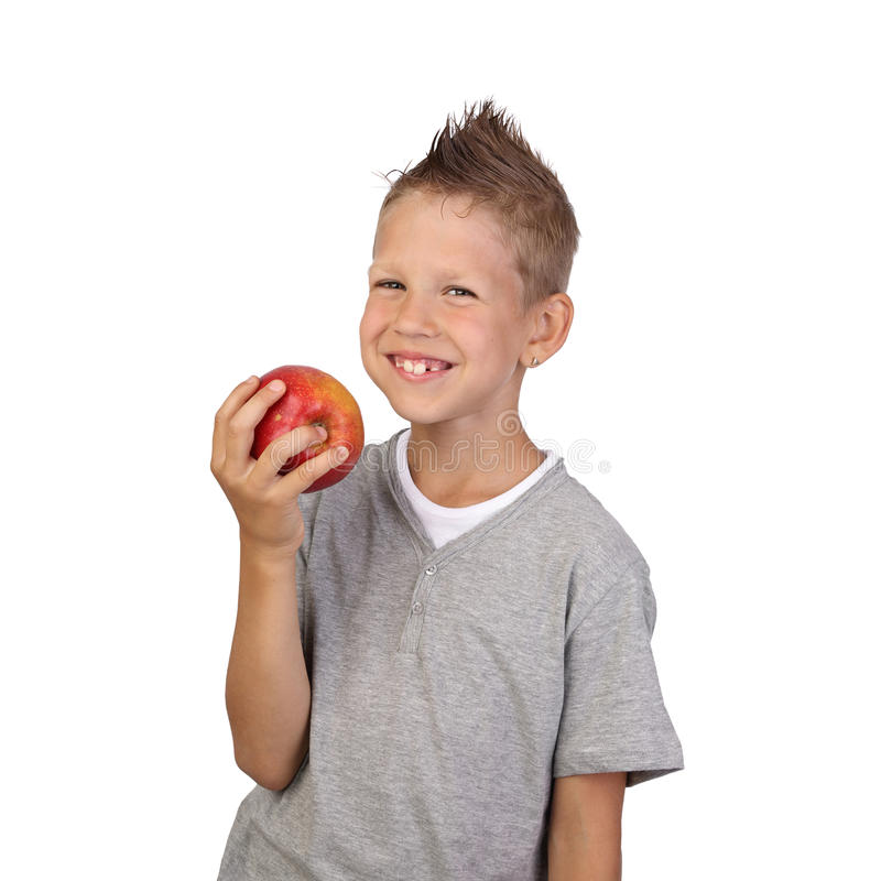 Boy with apple in hand royalty free stock photo