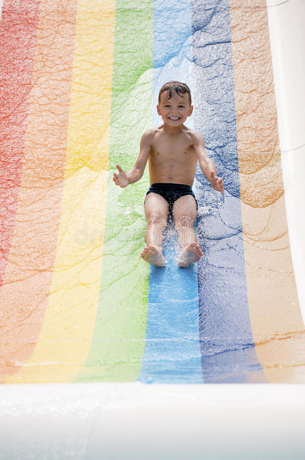 Download Boy at aqua park stock photo. Image of flume, outside - 29315914