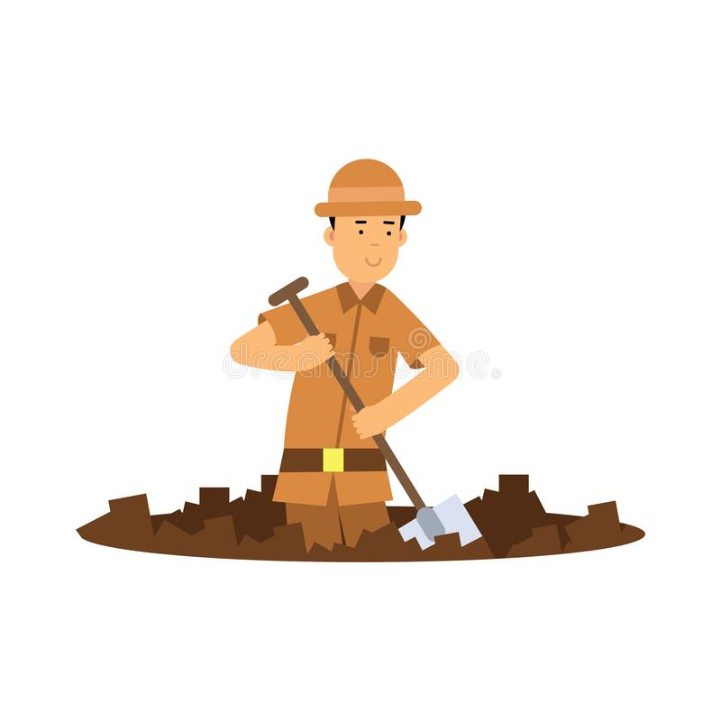 Boy archaeologist character digging pit with shovel. Boy cartoon young archaeologist character digging pit with shovel. Treasure hunter in brown safari suit and royalty free illustration