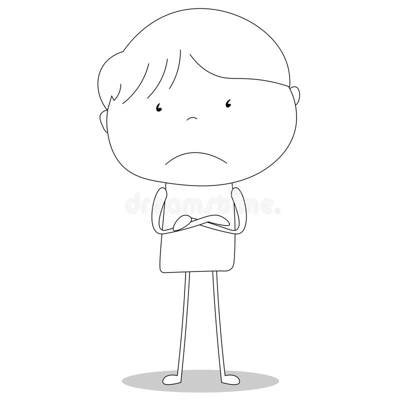 Boy unhappy with arms crossed, cartoon style illustration vector illustration