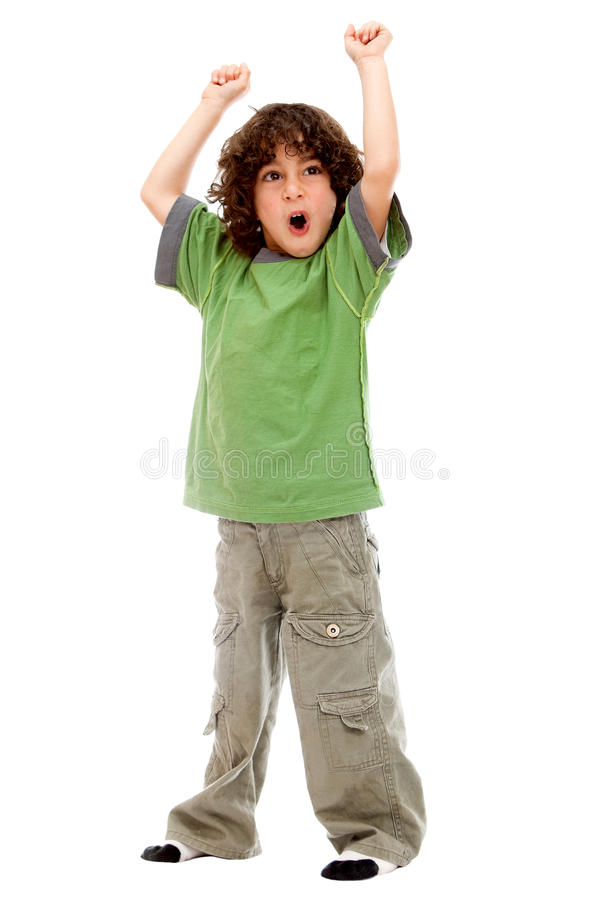 Download Boy with arms up stock image. Image of victory, white - 13189631