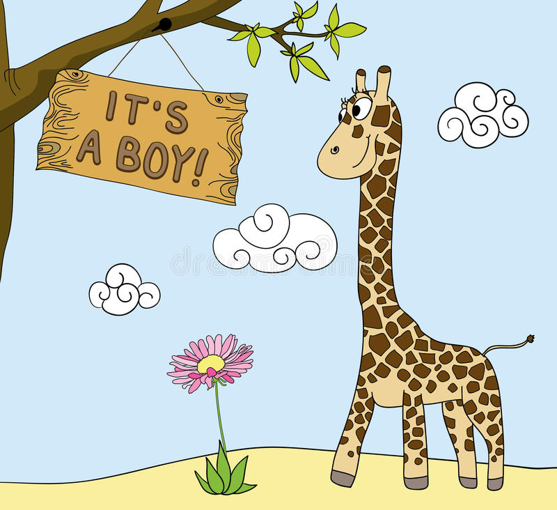 Boy arrival. Giraffe and announcement of boy arrival royalty free illustration