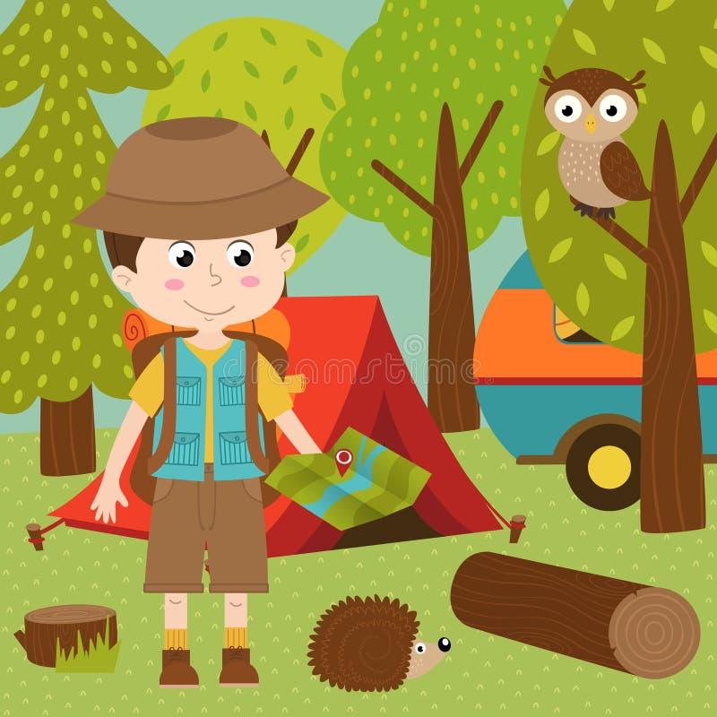 Boy arrived in summer camp royalty free illustration