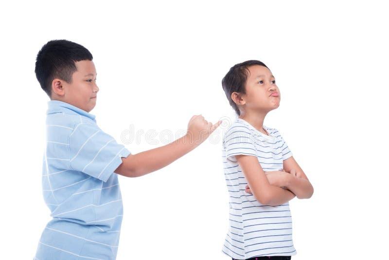 Boy ask a girl to reconcile over white background. Asian boy ask a girl to reconcile over white background stock photo