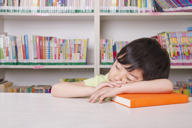 Boy Asleep on Book royalty free stock photography