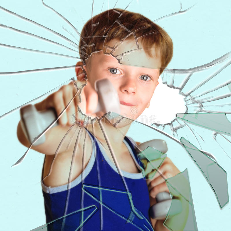 Boy athlete breaks glass royalty free stock images