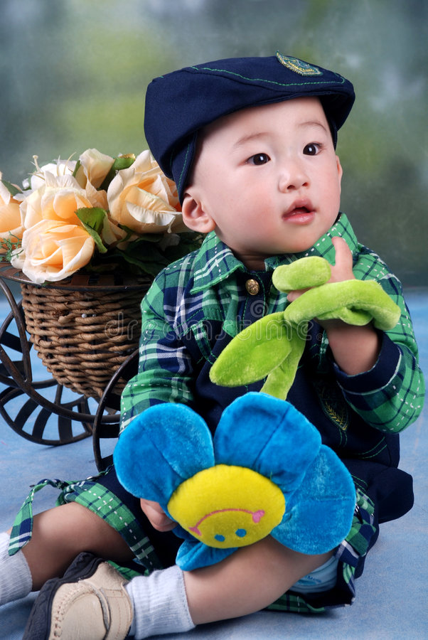 Boy in autumn stock photography