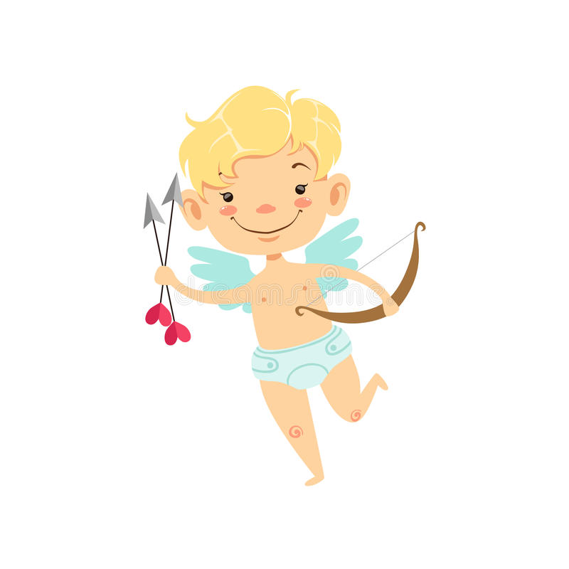 Boy Baby Cupid With Arrows And Bow, Winged Toddler In Diaper Adorable Love Symbol Cartoon Character. Happy Infant Cupid Saint Valentines Day Flat Vector vector illustration