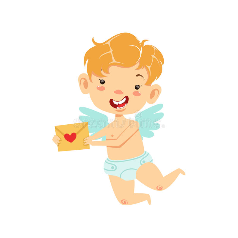 Boy Baby Cupid Delivering Love Letter, Winged Toddler In Diaper Adorable Love Symbol Cartoon Character. Happy Infant Cupid Saint Valentines Day Flat Vector vector illustration