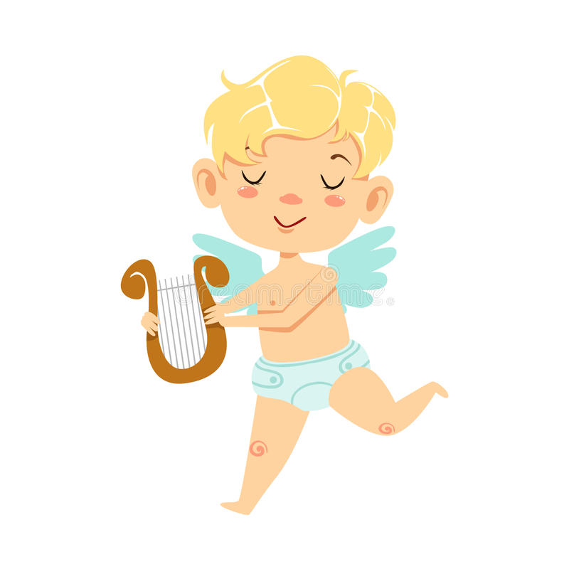 Boy Baby Cupid With Lira, Winged Toddler In Diaper Adorable Love Symbol Cartoon Character. Happy Infant Cupid Saint Valentines Day Flat Vector Illustration royalty free illustration