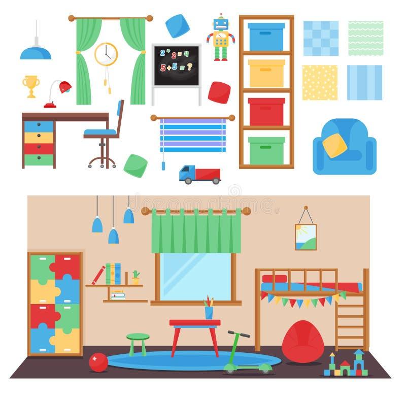 Boy baby room vector set. Horizontal view of cozy baby room decor. Cozy children bedroom interior with furniture and toys. Baby room with furniture furniture vector illustration