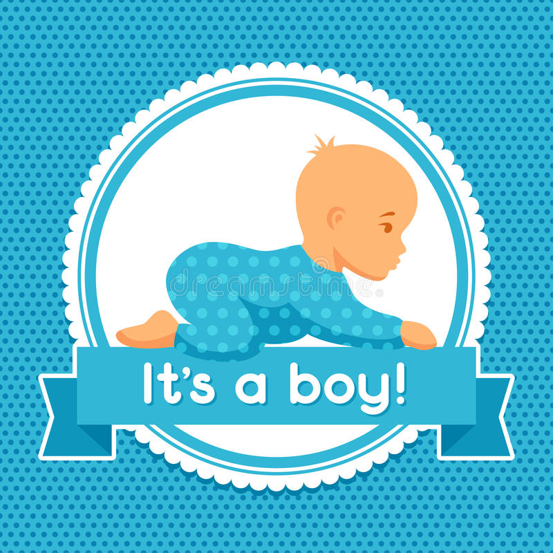 It Is A Boy. Baby Shower Invitation Stock Vector - Illustration of ...